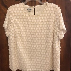 Talbots fringed dot ivory lace blouse 20W